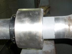 Repaired shaft with bearing reinstalled