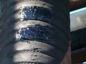 Reinforced repair using Belzona 2111 (D&A Hi-Build Elastomer)
